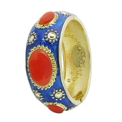 Vintage Jewelry Cloisonne Enamel Cat-eye Stone Royal Bangle Bracelet Multi Colors Selectable (dark blue)