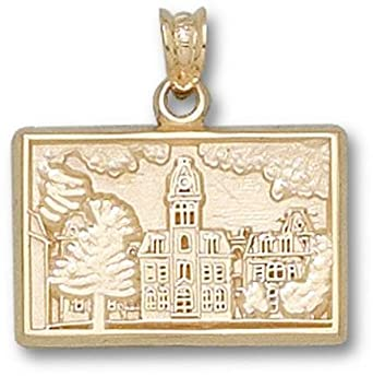 West Virginia Mountaineers Woodburn Hall Pendant - 14KT Gold Jewelry by Logo Art