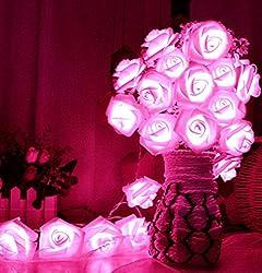 EZ Life LED Rose Light Series Decoration - Pink - 20 Flowers - PE