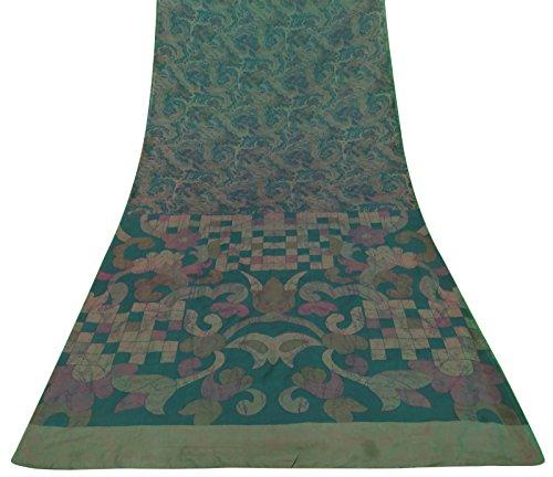 inde-ethnique-vintage-saree-100-soie-pure-green-floral-imprime-sari-craft-tissu