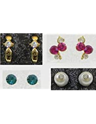 Four Pair Stone Setting Stud Earrings - Stone And Metal