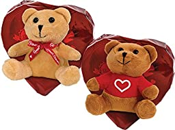 Russell Stover Candies Assorted Chocolates Red Foil Heart with Bear, 3.5 oz.