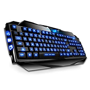 fome qwerty us layout blue backlit gaming keyboard computers accessories. Black Bedroom Furniture Sets. Home Design Ideas