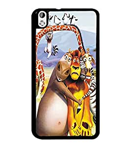PrintDhaba Animated Animals D-5347 Back Case Cover for HTC DESIRE 816 (Multi-Coloured)