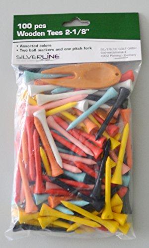 Silverline 15008 - 100 Holz-Tees bunt mit 2 Ballmarkern und Pitchgabel