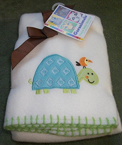 Garanimals so Cute White Baby Fleece Blanket with Embroidered Turtle Design - 1