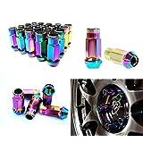iJDMTOY JDM Neo Chrome 20 Pcs M12 x 1.5MM Wheel Rim Lug Nuts For Acura Honda Mazda Mitsubishi Toyota Kia Hyundai, etc