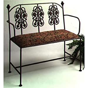 Grace Rosegarden Wrought Iron Loveseat, 40in, Cabin Fabric, Aged Iron Finish