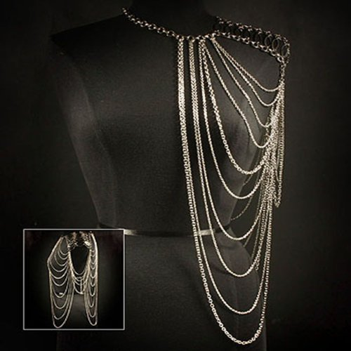 Celebrity Style Silver Shoulder Body Chain Statement Necklace