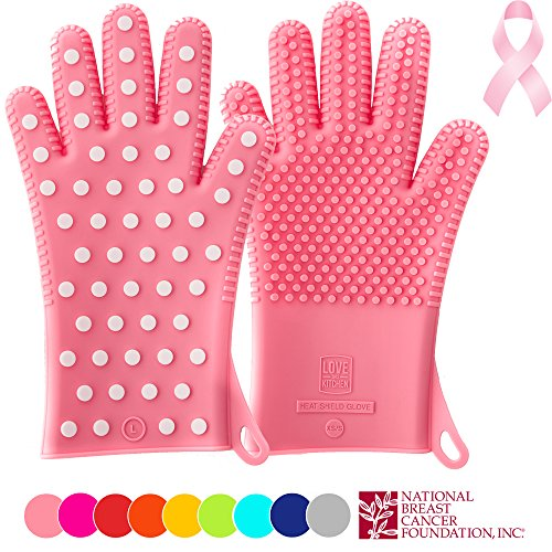 Finally! Heavy-Duty Ladies' Silicone Oven Mitts PINK Edition | Profits Will Go To NBCF To Help Women Now | Great Christmas Gift for Mom | Heat Resistant Barbecue & Cooking Gloves For Her (1 Pair,XS/S) (Oven Mitt For Small Hands compare prices)