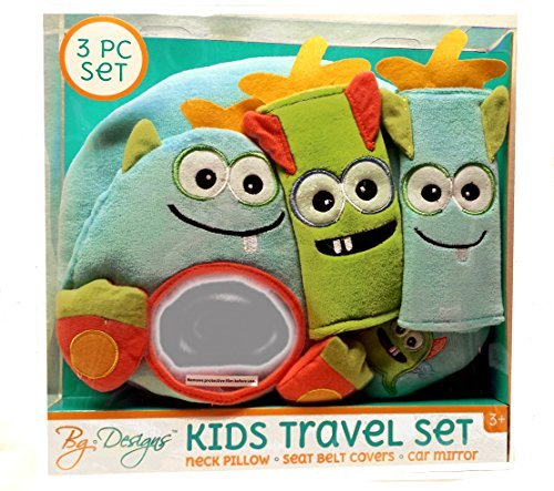 Kids Travel Set for Car Seat or Stroller Little Monster Neck Rest Pillow, Seat Belt Covers , Plush Toy
