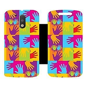 Skintice Designer Flip Cover with Vinyl wrap-around for Motorola Moto G4 Plus, Design - Popart hands