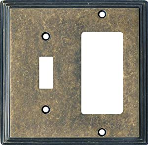 ART DECO STEP Mottle Antique Brass Switchplates Outlet Covers, Rocker, GFCI 1 Toggle/Decora