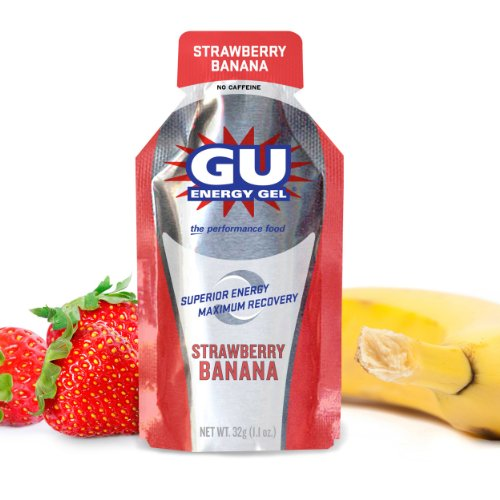Gu Original Sports Nutrition Energy Gel, Strawberry Banana, 24-Count