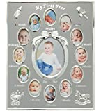 Baby's First Year Picture Frame, Silver