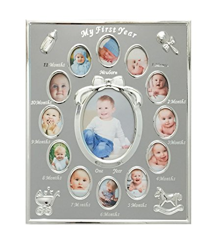 Tiny Ideas Baby's First Year Picture Frame, Silver