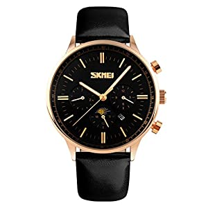 Aposon Mens Unique Quad Dial Analog Quartz Waterproof Fashion Wrist Business Casual Watch with Stainless Steel Case, 98ft Water Resistant, Leather Band, Calendar Month, Week, Date, Moon Phase - Black