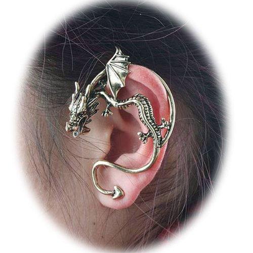 BestOfferBuy Fashion Gothic Punk Silver Dragon Ear Wrap Stud Earring