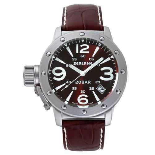 [シーレーン]SEALANE 腕時計 20BAR メンズ デザインウォッチ本革 N夜光 SE32-LBR メンズ