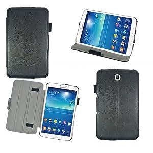Housse luxe Samsung Galaxy Tab 3 8 pouces SM-T3100/SM-T3110/SM-T3150 16 et 32 Go (Wifi/3G/4G) Ultra Slim Cuir Style avec stand - Etui coque de protection Samsung Galaxy Tab 3 8.0 noire/black - Prix découverte accessoires pochette XEPTIO : Exceptional case !