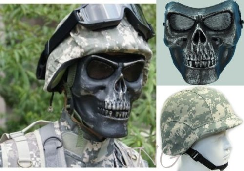 3 in 1 Airsoft Paintball Gear Set , Pasgt M88 Combat Helmet + Helmet Cover + M02 Cacique Warrior Skull Skeleton Face Mask