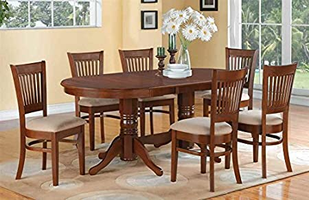 7-Pc Oval Dining Set in Espresso Finish