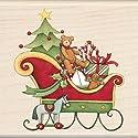 "Inkadinkado Christmas Mounted Rubber Stamp -Santa's Sleigh 3""X3"""
