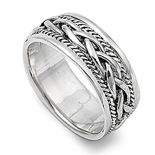 Sterling Silver Woman'S Men'S Braided Ring Unique Comfort Fit Wedding Band 9Mm Size 10 Valentines Day Gift