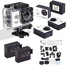 SAVFY® Multifonction SJ4000 Action Camera / Caméra sport / Caméra embarquée étanche 30M Full HD 1080P Enregistreur Vidéo Numérique DVR Camcorder, 12 Mega Pixel, 170 ° HD Grand-Angle, avec le Boîtier Etanche Supports Multiples + 21 ACCESSOIRES OFFERTS (inclus 2 batteries remplacements)!!! - Blanc
