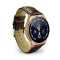 OHPA Z02 Extreme Slim Heart rate monitor HD display Bluetooth Smart Watch with Remote camer and sound for iPhone and Android Smartphones, Premium leather strap, Brown