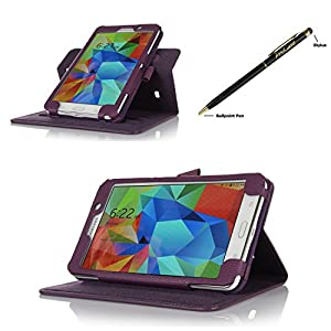 ProCase Samsung Galaxy Tab 4 7.0 Dual View Case (horizontal and vertical display) - Rotating Stand Folio Cover Case for 7 inch Galaxy Tab 4 (2014 released) with Corner Protected, and bonus Stylus Pen (Purple) by ProCase