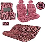 51gZ0qZAVOL. SL160  15 Pieces Safari Zebra Pink and Black Animal Print Auto Interior Gift Set with Side Opening for ARM Rest