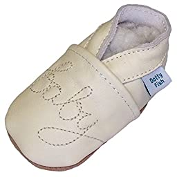 Soft Leather Baby Shoes with Suede Soles by Dotty Fish. Cream Stitched Unisex Design Baby Baby 0-6 months
