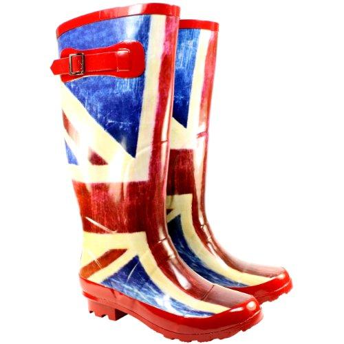Womens Union Jack Adjustable Buckle Wellington Boots