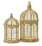 Set of 2 Shabby-Chic Weathered Gazebo-Style Bird Cages