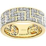 Ariel 9ct Yellow Gold 1ct Diamond Greek Key Ring