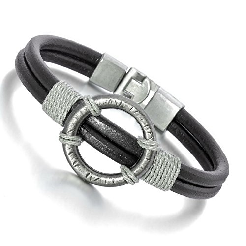 Kalendone Men's Alloy Genuine Leather Bracelet Bangle Cord Black Silver Round Biker,9""