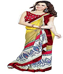 Sangeeta Border Work Saree with Blouse Piece (Multi-Coloured)