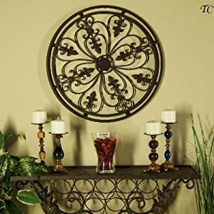 "Amazon.com - Tuscan Wrought Iron 24"" Round Wall Grille with Fleur"