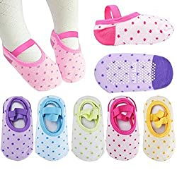 Pro1rise 5 Pairs Baby Girls Toddler Cartoon Dots Anti Slip Skid Foot Socks No-Show Crew Cotton Socks Sneakers 10-30 Months