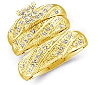 14k Yellow OR White Gold Mens and Ladies Couple His & Hers Trio 3 Three Ring Bridal Matching…