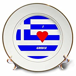 Florene Love of Country Flags - I Love Greece - 8 inch Porcelain Plate (cp_51548_1)