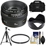 Canon EF 50mm f/1.4 USM Lens with Canon Case + UV Filter + Hood + Tripod + Cleaning Kit for EOS 60D, 7D, 5D Mark...