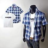 メンズ シャツ アンサンブル 半袖 converse コンバース チェック柄 楊柳 ロゴTシャツ付き