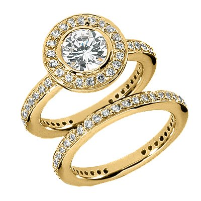 1.40 Ct Diamond Engagement Ring Bridal Set Round Cut Bezel Set Pave Style
