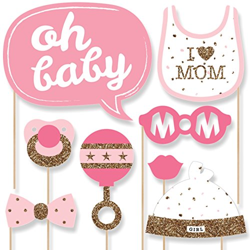 Hello Little One - Pink and Gold - Girl Baby Shower Photo Booth Props Kit - 20 Count (Photo Booth Props Baby Shower compare prices)