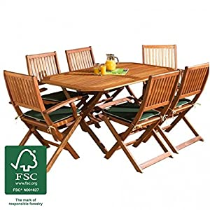 Wooden Garden Furniture Set 6 Seat Folding Patio Table Chairs Ideal Fo