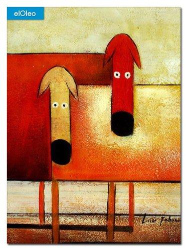 elOleo Pop Art – Das lustige bunte Hundeduo 40×30 Gemälde auf Leinwand handgemalt 83064A günstig online kaufen