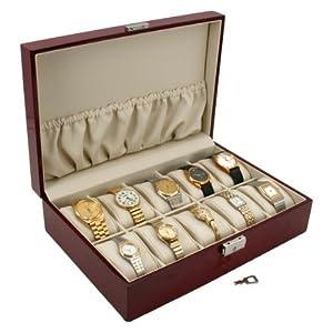 10 Watch Rosewood Display Case Storage Jewelry Box