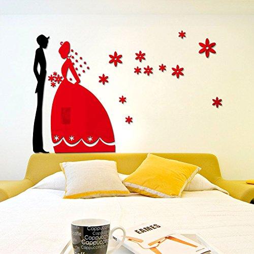 Generico parete Stereo adesivi 3D Crystal al posto letto con modalità di Nozze Nozze Nozze caldo letto Soggiorno Camera da letto camera da letto giovane,uomo rosso Huang Nv,grandi #W498